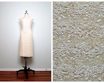1960s Ivory Sequin Dress / Fully Embellished Cream Wool Sequined Dress
