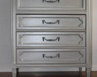 Pearl Grey Tall Dresser/Chest of Drawers/Bureau