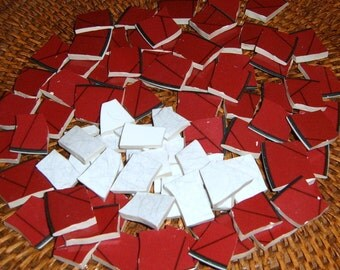 Broken China, Mosic Pieces,305 Pieces, Mosic Supplies, Hand Cut, Barn Red, Burgundy Red.