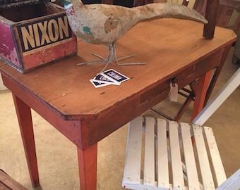Primitive Table Old Orange Paint