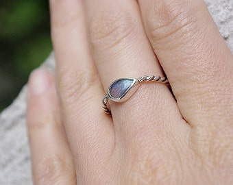 Handmade silver ring with natura Labradorite. Sterling silver ring. Handmade sterling silver ring.