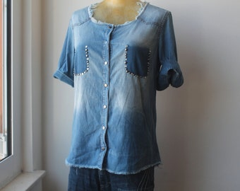 Denim Shirt, Studded Denim Jacket, Denim Top, Vintage