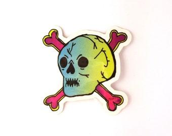 Totally Rad Skull Sticker - 2in