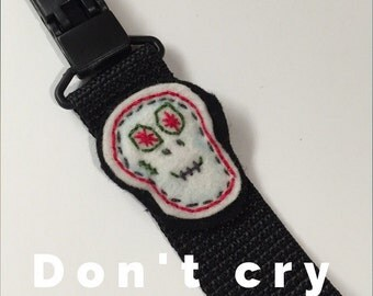 Pacifier clip with custom embroidery of your choice