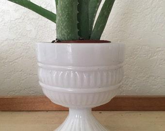 White, milk glass, planters