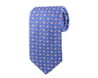 Silk Tie Blue Geometric Design. Slim Men's Neckties. Luxury Neckwear. 100% Italian Silk. Wedding Groomsmen Ties. Gifts For Him.  Made In USA