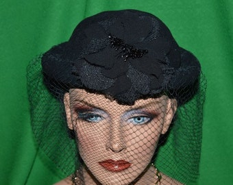 Vintage  Black Wool Felt Hat With Flower  black netting veil Britain 1950s