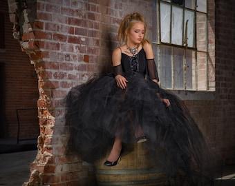 Floor length with train, sewn tutu,black tutu, halloween tutu,steampunk wedding, fantasy wedding,goth gothic wedding tutu halloween costume