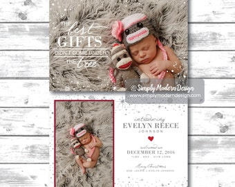 Holiday birth announcement, christmas, new years, the best gifts didn't come under the tree, new year birth, PRINTABLE or PRINTED CARDS