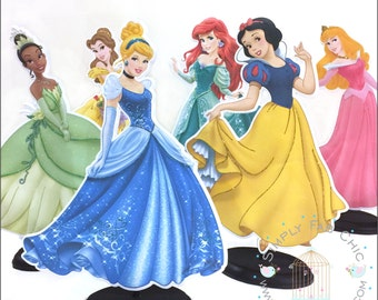 Disney Princess Centerpieces (6 characters) table decor Cinderella Snow White Tiana Aurora Belle Ariel