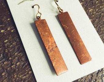Rectangular Copper Pendant Earrings