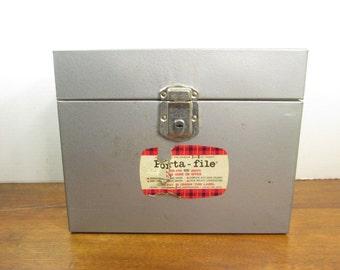 Industrial Metal File Storage Box Gunmetal Gray with Key