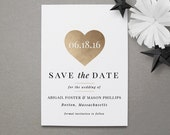 Save the Date Magnets - Elegant Modern Save the Date - Gold Heart Save the Date Magnet