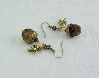Acorn Earrings, Brown Crystal Acorn Earrings, Gold Oak Leaf Earrings, Good Luck Earrings, Gold Acorn Earrings, Brown Crystal Earrings, Acorn