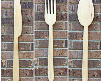 Reclaimed Wood Knife Fork Spoon Wall Decor, Kitchen Decor, Utensil Wall Art, Custom Color Wall Art, Gift Idea For Foodie, Kitchen Art