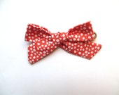 Hand Tied Hair Bows/One Size Fits All/Valentine's Day Bows/Red Polka Dot Bows/Little Girl's Bows