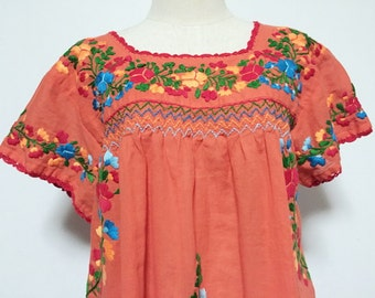 Embroidered Mexican Blouse Cotton Top In Orange, Boho Blouse, Gypsy Top