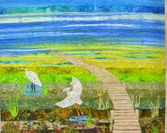 Art Quilt  Heron Art Quilt  Fiber Art  Original  Wildlife Art Quilt  Pam George Quilts  Pictorial Quilt  Small Wall  Quilt Wall Quilt