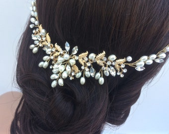 Vintage Style Bridal Headpiece, Crystal And Pearl Wedding Hair Piece,  Bridal Hair Vine, Wedding Headpiece, Gold Or Silver