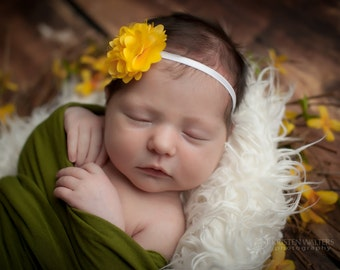 FREE SHIPPING! Yellow Baby Headbands, Yellow Headbands, Newborn Headbands, Yellow Flower Headband, Yellow Photo Props, Photography Prop