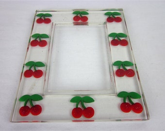 Vintage 80s Lucite Picture Frame, Carved Cherries, Retro 50s Cool!