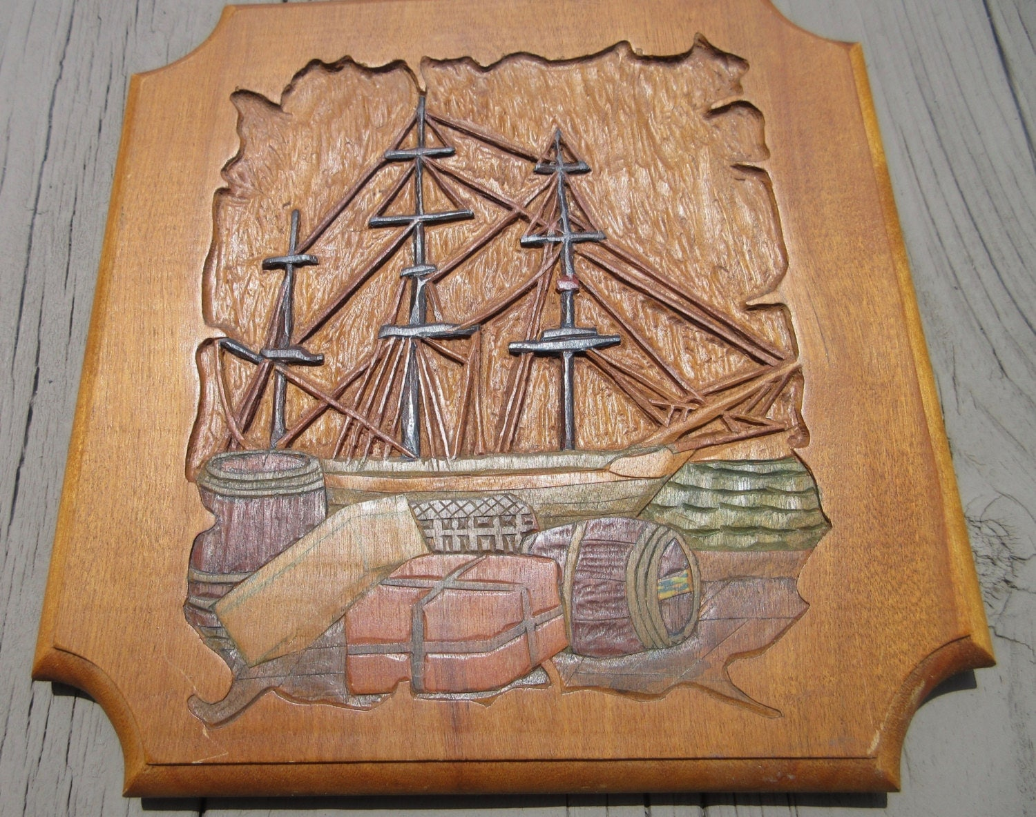 Vintage Hand Carved Cargo Ship Wooden Plaque Nautical Chic
