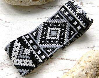 Monochrome beadwoven bracelet - ethnic style beaded jewelry