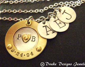 Mixed metal family necklace sterling silver mom initial necklace