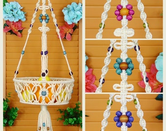 "10"" Hanging Fruit Basket, Macrame Hanger, Banana Holder, Large Fruit Bowl, Potato, Onion, Kitchen Organizer, Hippie Home Décor, Cream, Ivory"