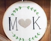 Personalized Wedding or Anniversary embroidery hoop, wall decor