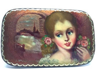 Russian Brooch,Fedoskino,Lacquer,Mother of Pearl, Jewelry, Folk Art, Hand Painted, Artist Signed, dated, OOAK
