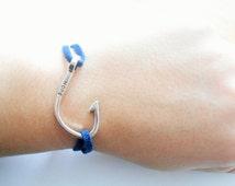 marine anchor chain bracelet - hook bracelet - silver anchor bracelet - wristband hope - marine bracelet - anchor bracelet - pendant anchor