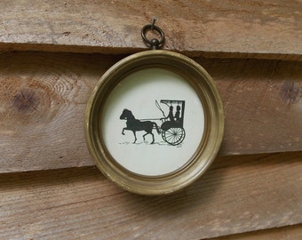 Vintage Horse and Carriage Silhouette in Round Antique Gold Shadowbox Frame