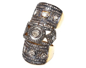 Kunckle Vintage Inspired Sterilng Silver 2.55Ct. Rose/Antique Cut Diamond Ring