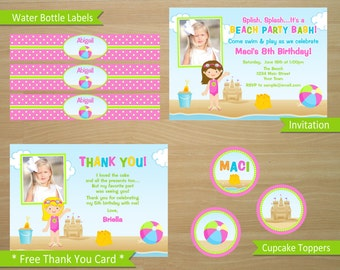 Beach Girl Birthday Invitation and Party Package - Personalized Digital Files (Printing Available)