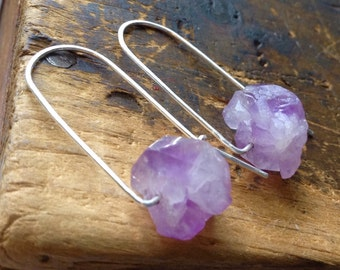 Serene | SMALL Amethyst earrings | Small CHUNKY Raw Amethyst stones | metalwork earrings| Purple stones | Sterling Silver Earwires | hippie
