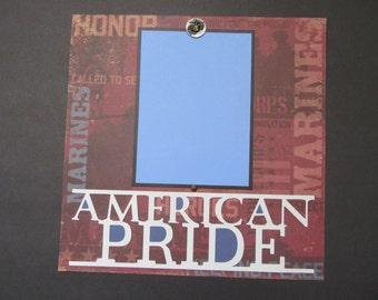 Military MARINES American Pride 12 x12 Premade Scrapbook Page