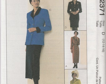 McCall's 2371 Size 8-10-12, 12-14-16 or 16-18-20 Misses' Lined Dress or Jacket and Skirt Sewing Pattern 1999 Uncut