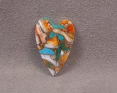 ORANGE SPINEY OYSTER With Kingman Turquoise and Bronze Metal Heart Shaped Cabochon