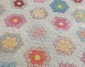 Vintage Grandmothers Flower Garden Quilt Handmade Art History Enchanting