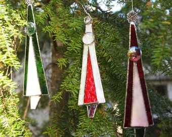 Stained Glass ChristmasTree Ornaments