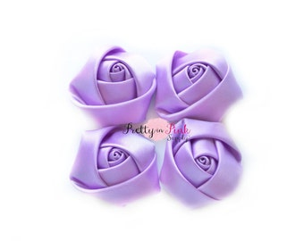 "Light Purple Satin Rolled Rosettes Lot of 4...Satin Rolled Rosettes...Mini Rolled Rosettes...1.5"" Rosettes"