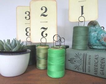 Table Number Holder Vintage Thread Spool Boho Wedding Rustic Decor SHop Price Holder