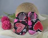 Sweethearts Baby Shoes - Mushies Baby Shoes - Soft Sole Baby Shoes - Fleece Lined Fabric Baby Shoes - Fabric Baby Shoes