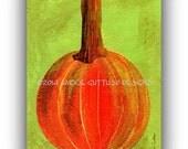 """Pumpkin art, Giclee print 5 x 7"""" Fall art, Kitchen art, Pumpkin collage, Food art, Pumpkin print, Dining room art, Vegetable painting print"""