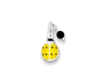 Yellow Enameled Ladybug w/Bead Charm Sterling Silver pendant .925
