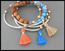Boho TASSEL Leather Bangle - Double n Single Tubes Genuine Leather Cord - Cotton Tassel Charm Bangle Stackable Bracelet - Alex and Renee USA