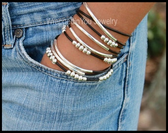LEATHER Wrap Bracelet - Triple Leather Wrap Bracelet Silver Tubes - CASCADING Adjustable Boho Leather Wrap Beaded Accents Bracelets USA 769