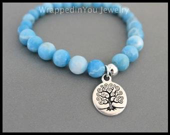SANDALWOOD Gemstone Stretch Bracelet - 6mm or 8mm Dominican Larimar Turquoise Amazonite Scented Mala Wood Beaded Stackable Yoga Bracelet