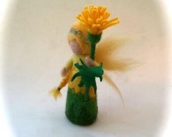 Dandelion fairy.felted. Wet  felted. Waldorf.Flower child.